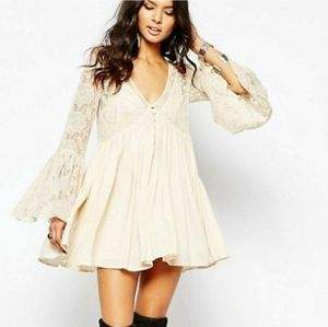 Free People Love From India Cream Lace Dress MED
